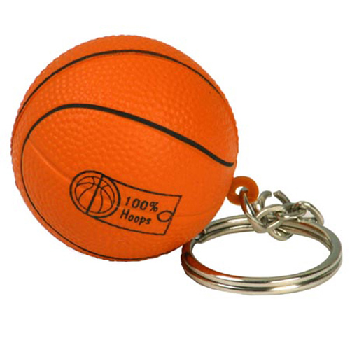 Promotional Basketball Key Chain Imprinted StressBall