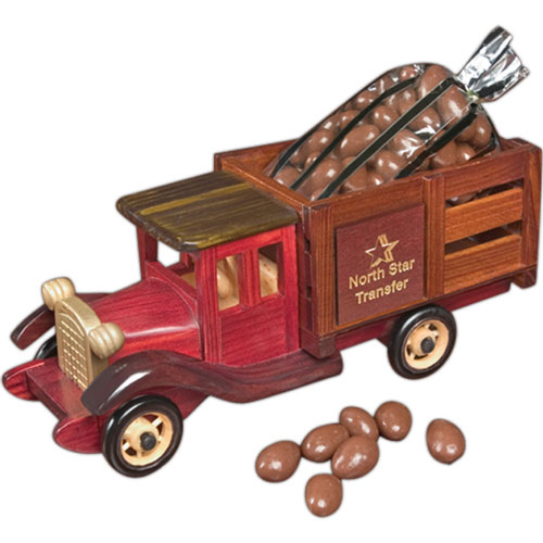 Promotional Classic Wood Truck with Chocolate Covered Almonds