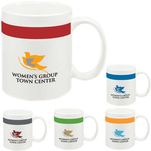Promotional Color Stripe Mug 11 oz