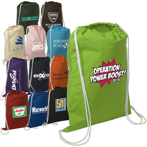 Promotional Cotton String-A-Sling Backpack - 4 Color Process