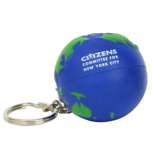 Promotional Earth Ball Key Chain Stress Ball