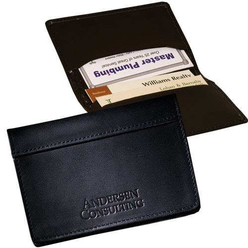 Promotional Fire Island Business Card Case - Black Cowhide