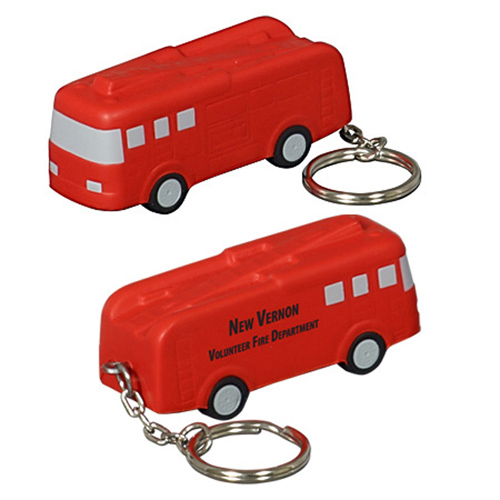 Promotional Fire Truck Key Chain Stress Reliever