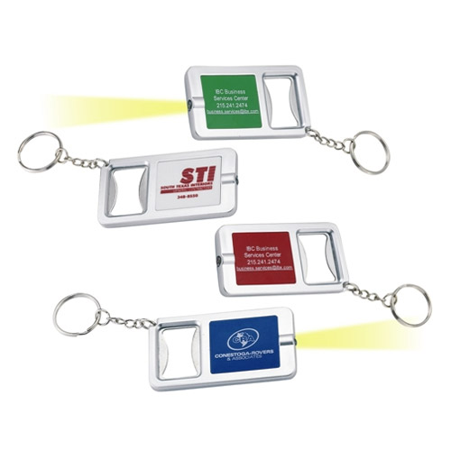 Promotional Flashlight and Bottle Opener Keychain