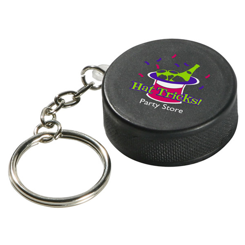 Promotional Hockey Puck Key Chain Stress Ball