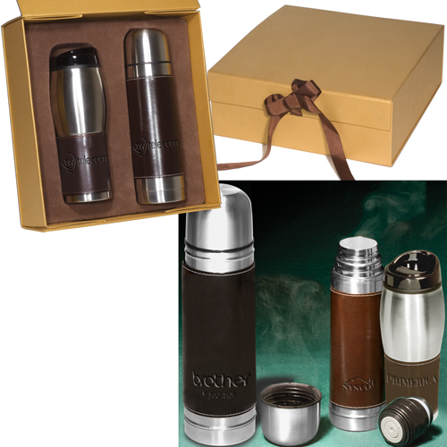 Promotional Leather-Wrapped Thermos/Tumbler Set