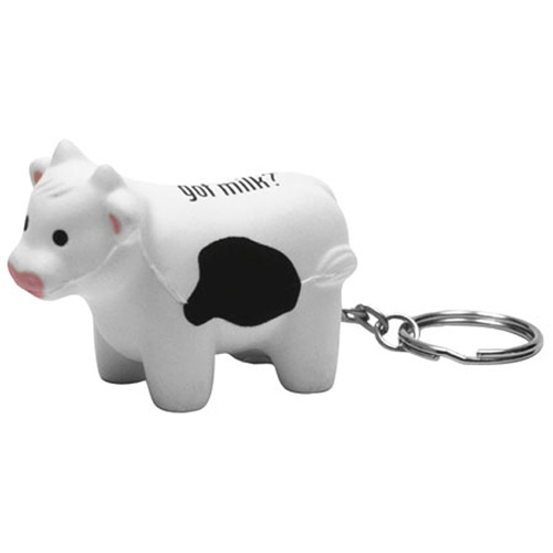 Promotional Milk Cow Key Chain Stress Ball