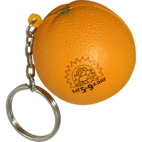 Promotional Orange Key Chain Stress Reliever