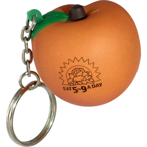 Promotional Peach Key Chain Stress Ball