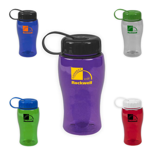 Promotional Poly-Pure Bottle with Tethered Lid 18oz
