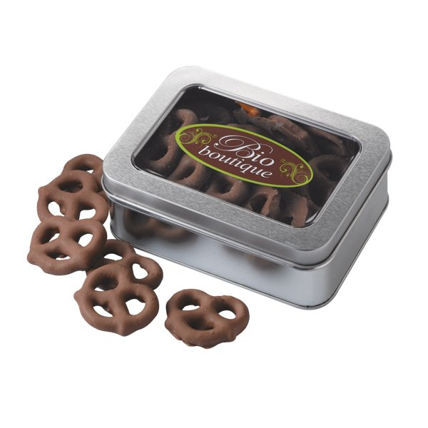 Promotional Rectangle Pretzel Window Tin
