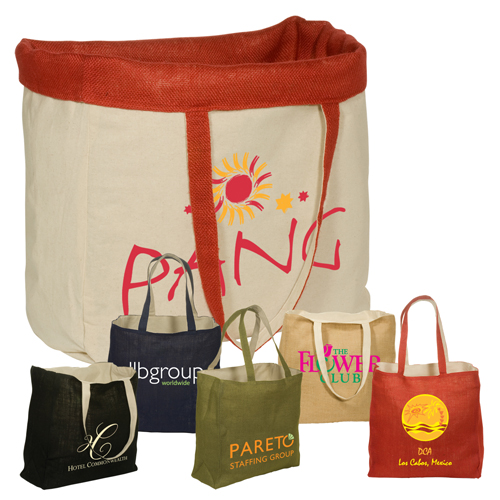 Promotional Reversible Jute/Cotton Tote 4 Color Process