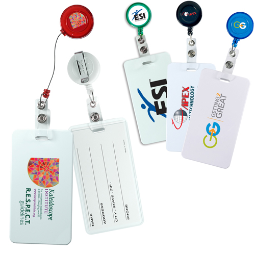 Promotional Round Retract-A-Badge with Luggage Tag Combo