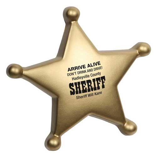 Promotional Sheriff's Badge Stress Reliever