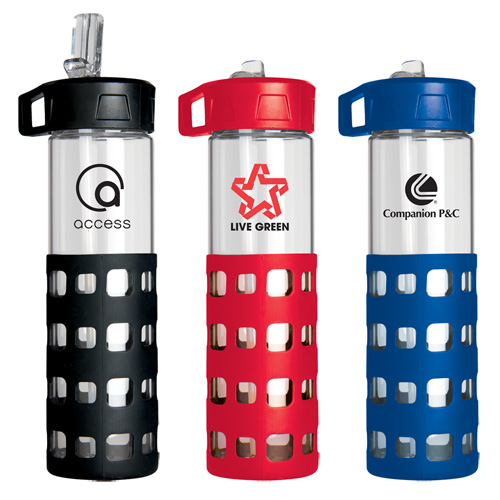 Promotional Sip-N-Go Glass Water Bottle
