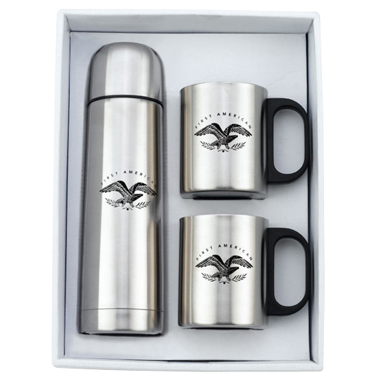 Promotional Stainless Steel Mugs (2) & Thermo Set