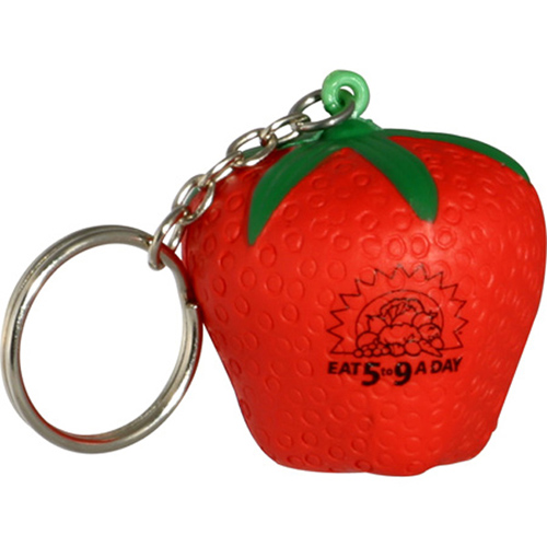 Promotional Strawberry Key Chain Stress Reliever