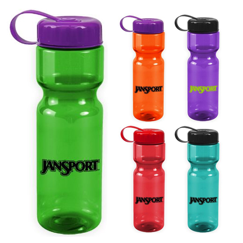 Promotional Transparent Bottle with Tethered Lid - 28 oz - BPA Free
