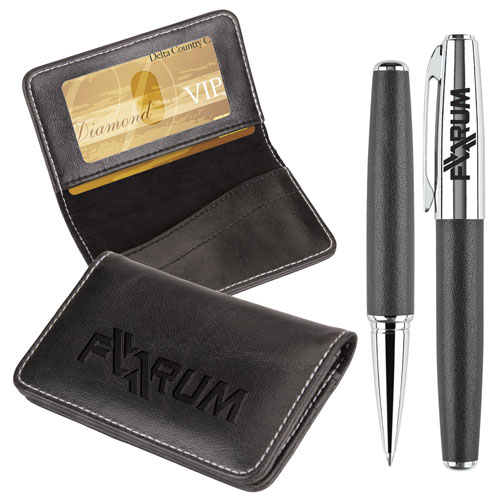 Promotional Victory Business Card Case and Rollerball Pen Gift Set