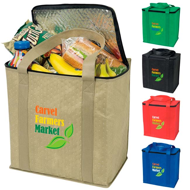 Promotional Zippered Insulated Grocery Tote Bag