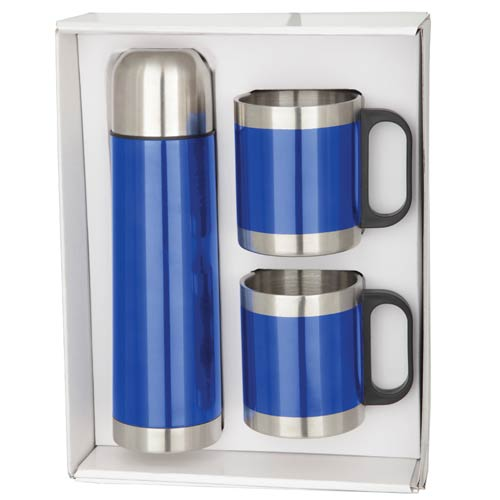 Stainless Steel Mugs (2) & Thermo Set