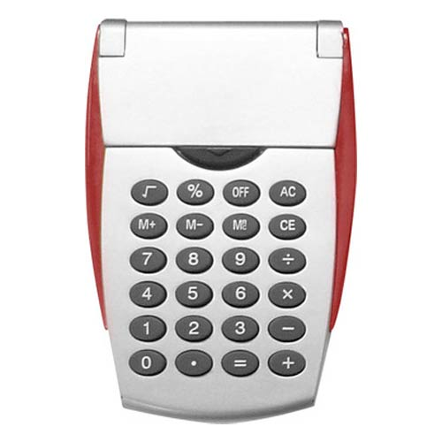 Silver Flip Calculator Translucent Red