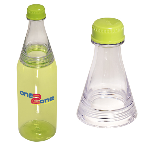 Easy-Fill Two-Tone Soda-Style Bottle Translucent Lime Green