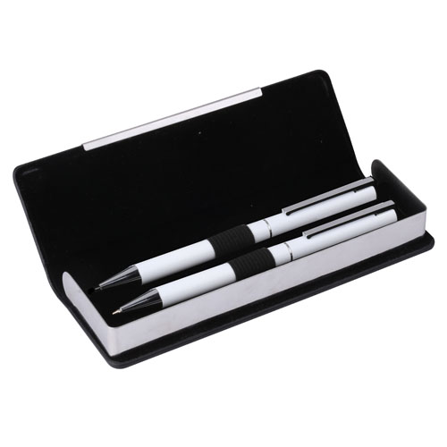 Brass Pen & Pencil Set White