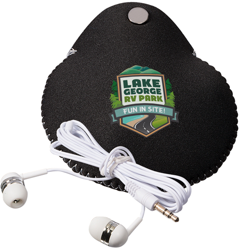 Neoprene Earbud Pouch Combo with Earbuds