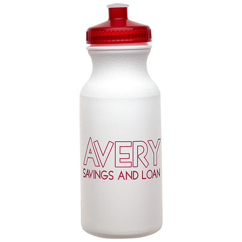 20 oz Economy Bottle with Push-Pull Lid Red