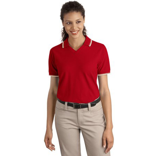 Ladies Cool Mesh Sport Shirt-Poprt Authority Red/Khaki/Ivory