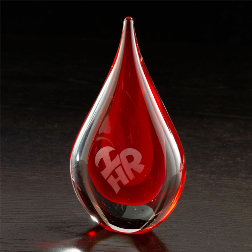 Fusion Art Glass Award Red