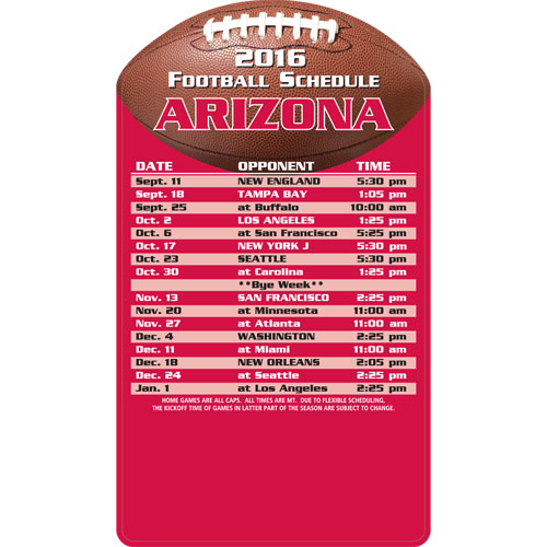 Football Schedule Magnet Arizona Cardinals