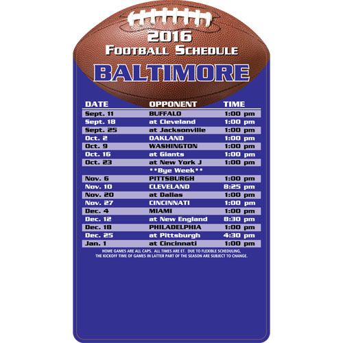 Football Schedule Magnet Baltimore Ravens