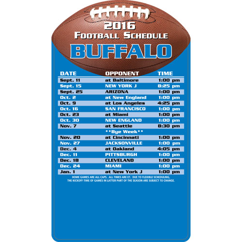 Football Schedule Magnet Buffalo Bills