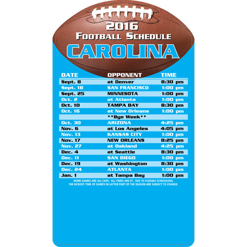 Football Schedule Magnet Carolina Panthers