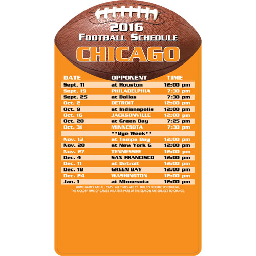 Football Schedule Magnet Chicago Bears