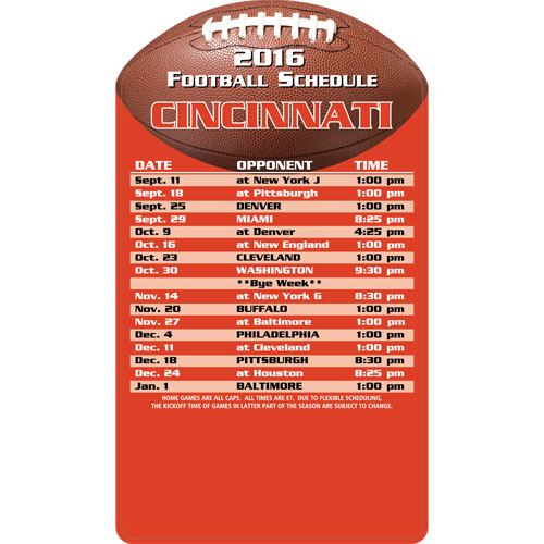 Football Schedule Magnet Cincinnati Bengals