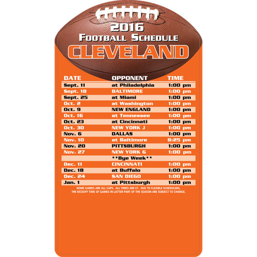 Football Schedule Magnet Cleveland Browns