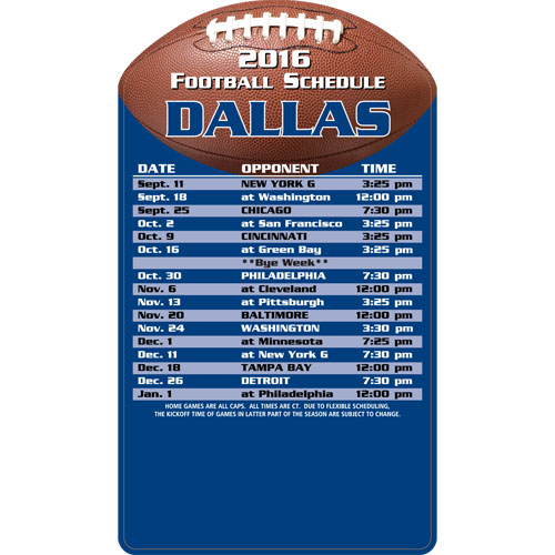Football Schedule Magnet Dallas Cowboys