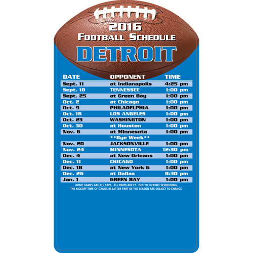 Football Schedule Magnet Detroit Lions
