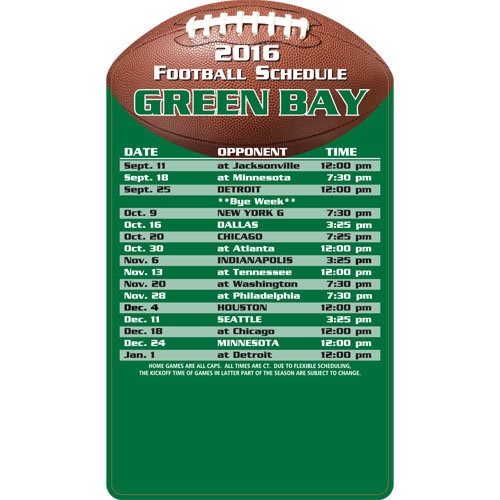 Football Schedule Magnet Green Bay Packers