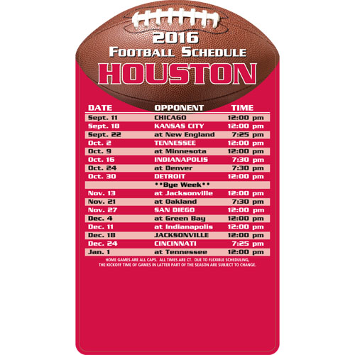 Football Schedule Magnet Houston Texans