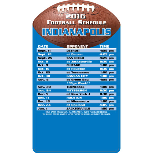 Football Schedule Magnet Indianapolis Colts