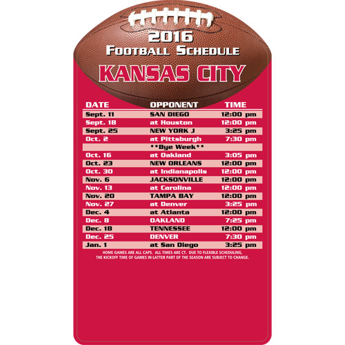Football Schedule Magnet Kansas City Chiefs