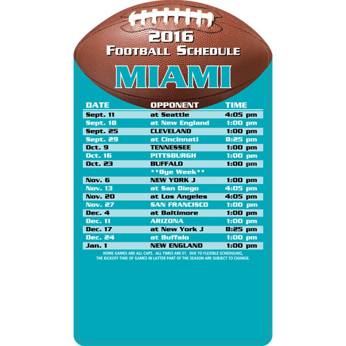 Football Schedule Magnet Miami Dolphins