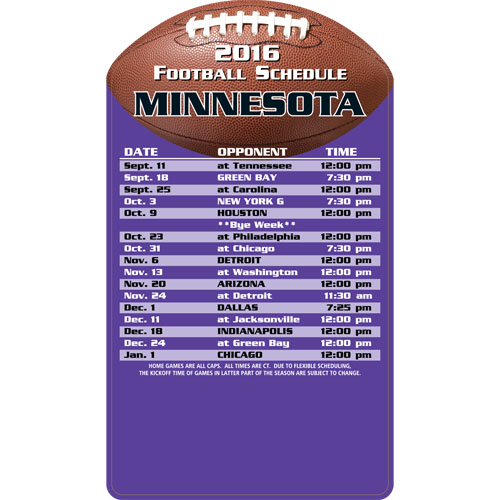Football Schedule Magnet Minnesota Vikings