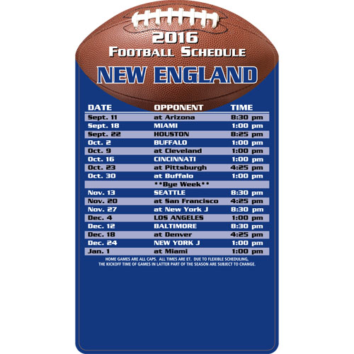 Football Schedule Magnet New England Patriots