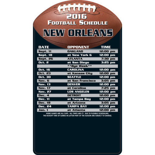 Football Schedule Magnet New Orleans Saints