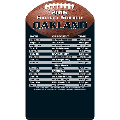 Football Schedule Magnet Oakland Raiders
